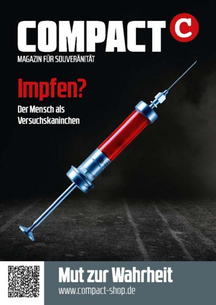 """COMPACT-Aufkleber """"Impfen? Der Mensch als Versuchskaninchen"""" (A7)"""